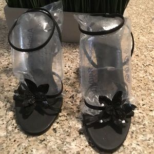 Black Sequin flower high-heel sandals dressy 8